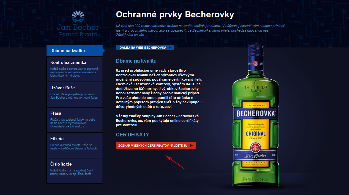 Becherovka-Homepage